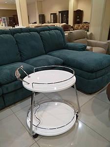 Столик барный, сервировочный стол Флоренция белый глянец + хром