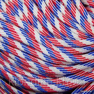 Паракорд для плетения браслетов, Полиэстер, 4 мм, Цвет: Бело-красно-синий (5 метров)