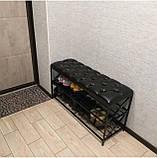 Банкеткa - Пуф для обуви в стиле Loft, с мягким сиденьем ( 2 полочки) 100 см, фото 3