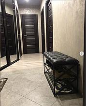 Банкеткa - Пуф для обуви в стиле Loft, с мягким сиденьем ( 2 полочки) 100 см