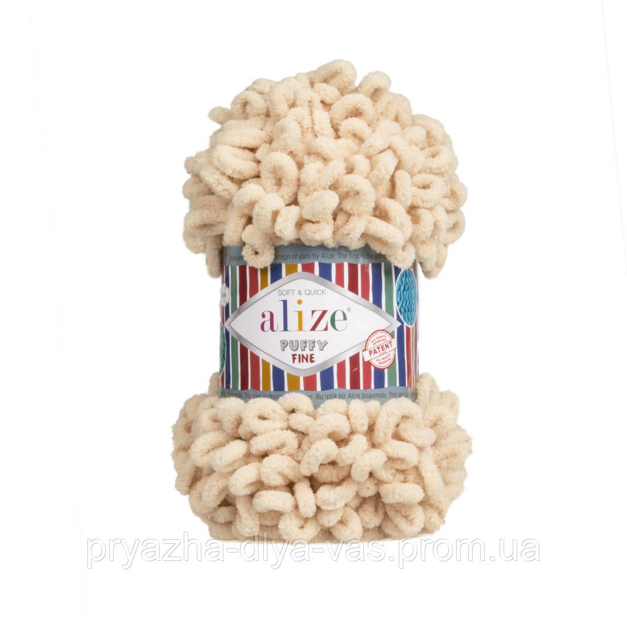 Пряжа для вязания руками (100%-микрополиэстер, 100г/14м) Alize PUFFY FINE 310 (медовый)