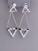 Серьги Треугольники Xuping Фианит (родий) 058050