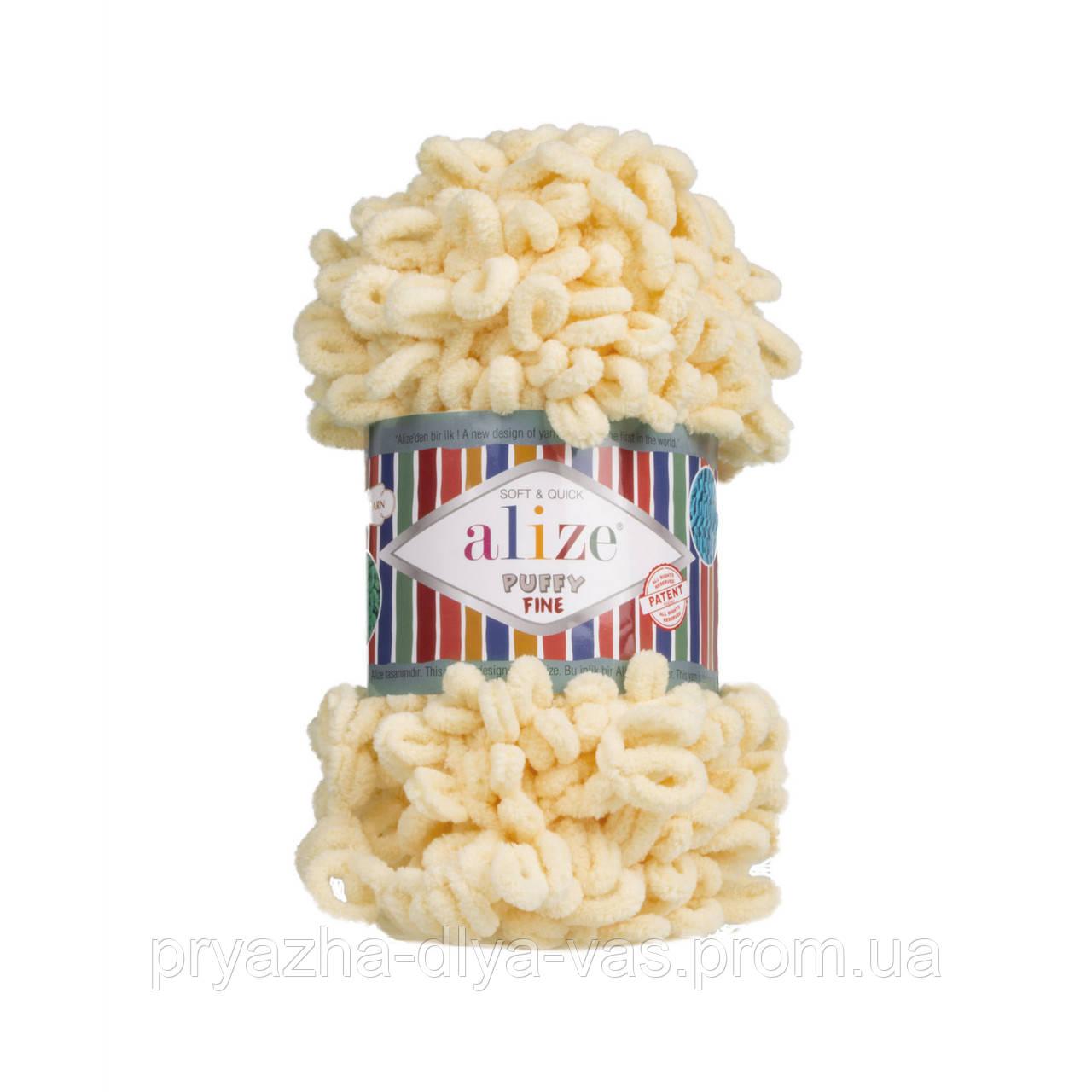 Пряжа для вязания руками (100%-микрополиэстер, 100г/14м) Alize PUFFY FINE 160 (камень)
