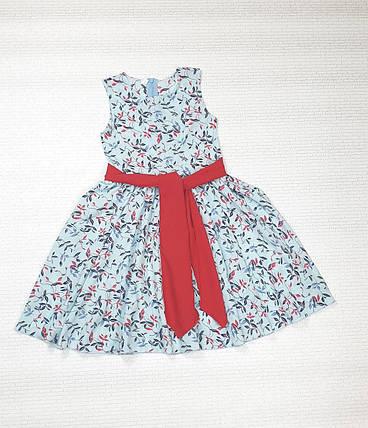 Платье   для девочки Фея 104-122 голубой  в цветочек, фото 2