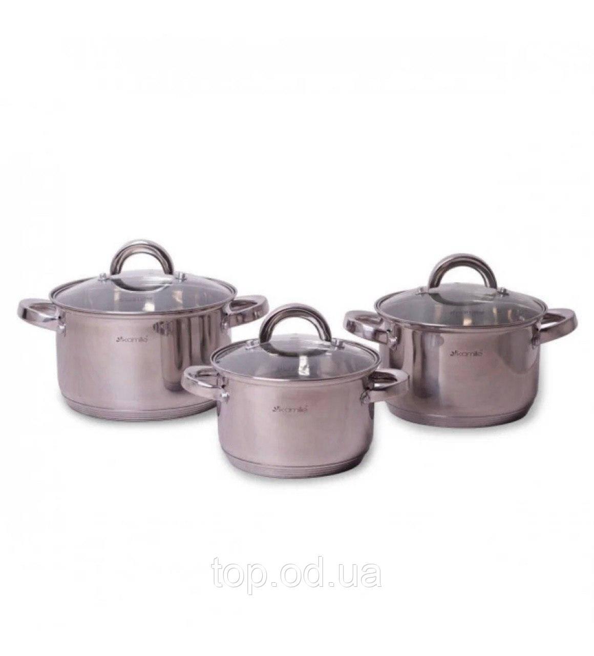 A5628S Набор кастрюль 6 предметов (1л, 1.8л, 2.5л; полые ручки) из нержавеющей стали