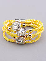 Браслет желтый шнурок с круглыми камнями 17 см. 023027