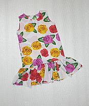 Летнее Платье цветочный принт  для девочки 134,140,146,152  цветы на белом, фото 3