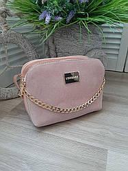 Маленькая женская сумка замша + эко-кожа
