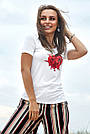 Футболка біла з принтом жіноча, фото 2