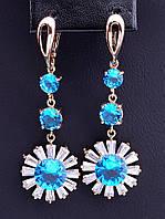Серьги FJ с голубыми камнями фианит (позолота 18к) 045219