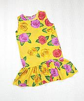 Летнее Платье цветочный принт  для девочки 134,140,146,152  цветы на желтом, фото 3
