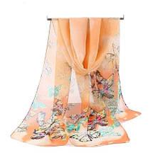 Женский шифоновый шарфик оранжевый с бабочками - размер шарфа приблизительно 145*48см, 100% вискоза