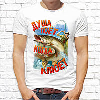 """Мужская футболка с принтом для рыбаков """"Душа поёт когда клюет"""" Push IT, Белый"""