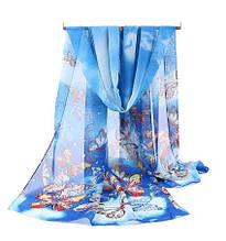 Женский шифоновый шарфик синий с бабочками - размер шарфа приблизительно 145*48см, 100% вискоза