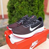 Повседневные мужские кроссовки текстильные кросовки для бега чёрные с белым и красным
