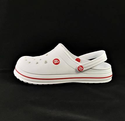 Мужские Тапочки CROCS Белые Кроксы Шлёпки (размеры: 41,42,43,44,45,46), фото 3