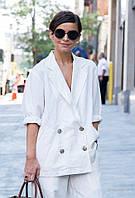 Женский пиджак из льна длинный свободный оверсайз, белоснежный и других цветов. Размер 42-74+ плассайз