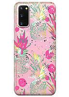 Прозрачный силиконовый чехол iSwag для Samsung Galaxy S20 с рисунком - Ананасы M1039, КОД: 1690328