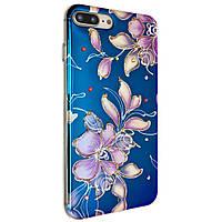 Чехол-накладка DK-Case Цветы с камнями для Apple iPhone 7   8 Plus Синий 06883-738, КОД: 1694700