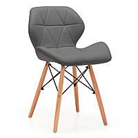 Мягкий обеденный стул Стар-NN серый кожзам сидушки ножки-деревянные в стиле Лофт для кафе или офиса
