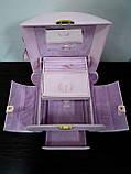 Шкатулка сундучок для украшений,большая кожаная розовая с цветком, фото 4