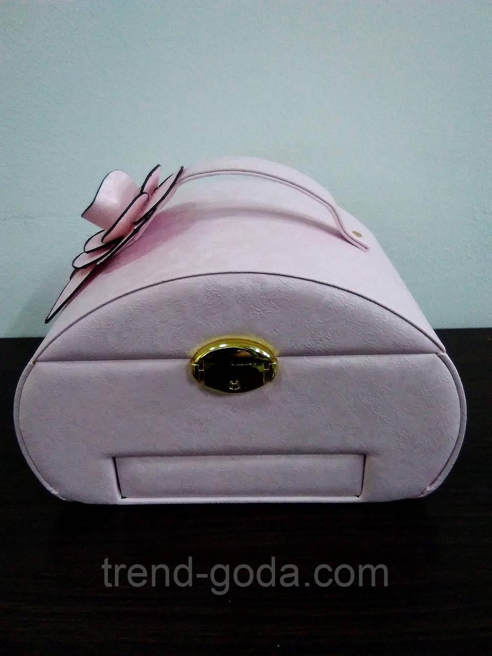 Шкатулка сундучок для украшений,большая кожаная розовая с цветком