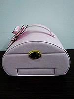 Шкатулка сундучок для украшений,большая кожаная розовая с цветком, фото 1