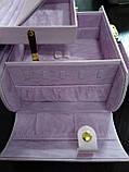 Шкатулка сундучок для украшений,большая кожаная розовая с цветком, фото 6