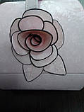 Шкатулка сундучок для украшений,большая кожаная розовая с цветком, фото 2