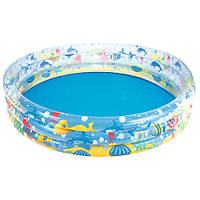 Дитячий надувний басейн Bestway 51004 Підводний світ, 3 кільця 282 л, вініл