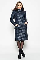 Модная стёганая куртка  с капюшоном синяя