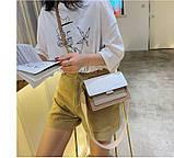 Сумка жіноча з двома знімними плечовими ременями. Модна Сумочка з екошкіри (бежева з коричневим), фото 2