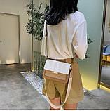 Сумка жіноча з двома знімними плечовими ременями. Модна Сумочка з екошкіри (бежева з коричневим), фото 3