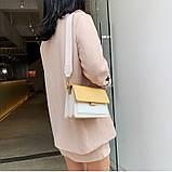 Сумка жіноча з двома знімними плечовими ременями. Модна Сумочка з екошкіри (жовта), фото 3