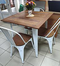 Стол Tolix Table АT-236U 80х80 белый тиковая столешница для открытых площадок (Accord)