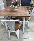 Стол Tolix Table АT-236U 80х80 белый тиковая столешница для открытых площадок (Accord), фото 3