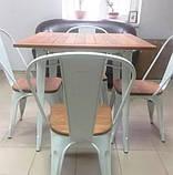Стол Tolix Table АT-236U 80х80 белый тиковая столешница для открытых площадок (Accord), фото 6