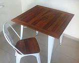 Стол Tolix Table АT-236U 80х80 белый тиковая столешница для открытых площадок (Accord), фото 7