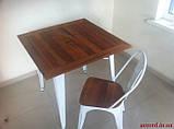 Стол Tolix Table АT-236U 80х80 белый тиковая столешница для открытых площадок (Accord), фото 8
