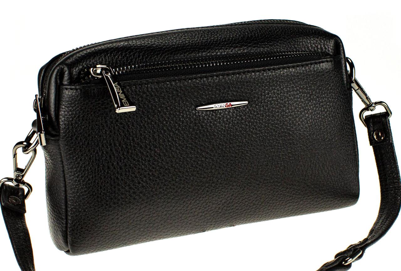 Жіноча сумка крос-боді Eminsa 40125-37-1 шкіряна чорна