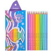 Карандаши Pastel Colors, 12 пастельных цветов, шестигранные, ТМ Marco (12шт)