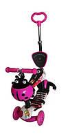 Самокат детский 4-х колесный  мод.4110D Колеса силиконовые. 120мм. Розовый