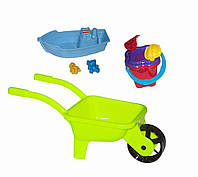 Строительная детская тачка с лодочкой и песочным набором, фото 1