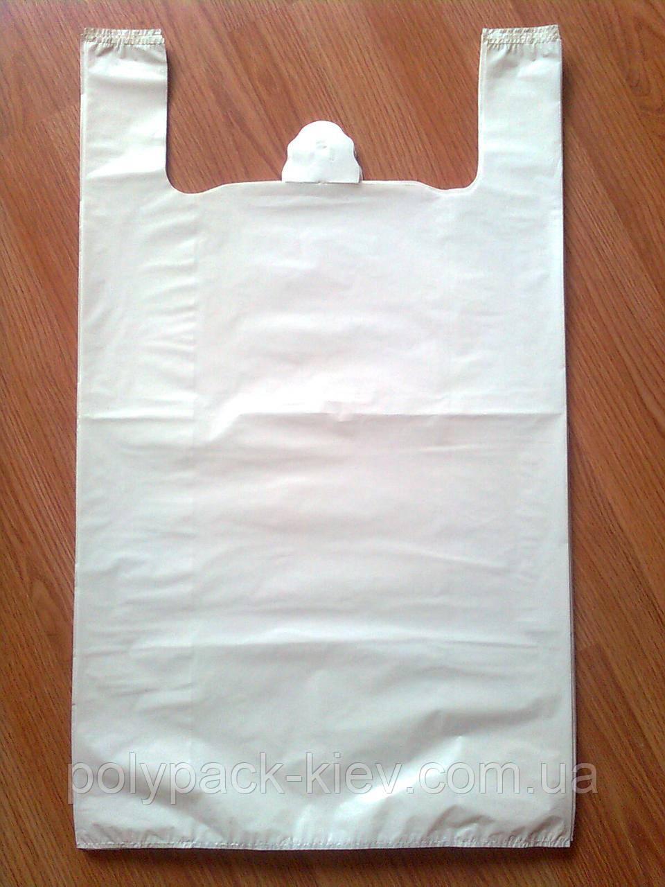 Белые пакеты майка 44*75 см/45 мкм без печати, суперпрочные плотные большие, прочный белый пакет без логотипа