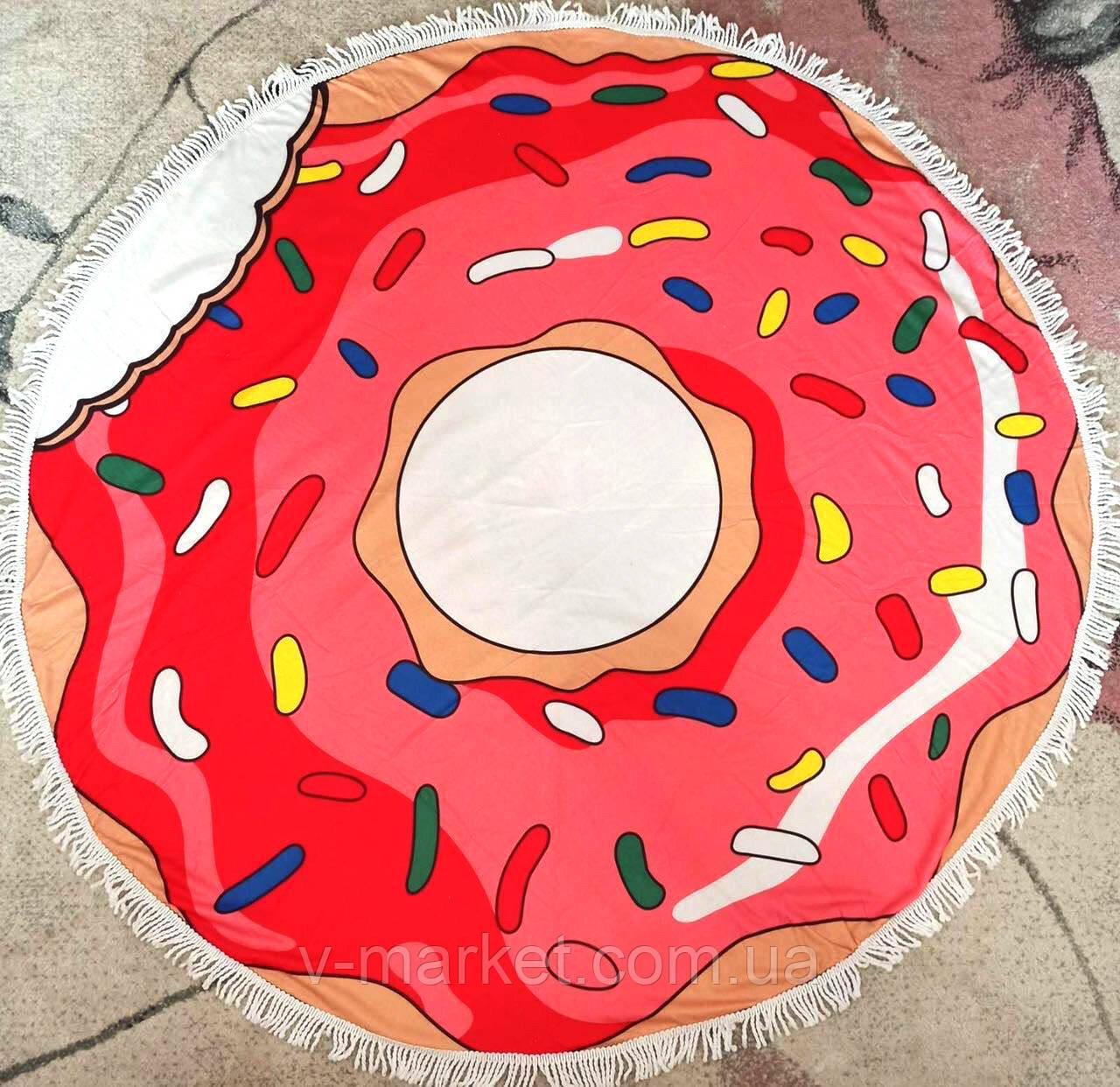 Полотенце пляжное круглое, диаметр 150 см, микрофибра
