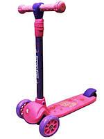 Самокат детский трех-колесный мод.806, светящиеся колеса 120мм. Розовый