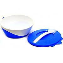 Тарелка-миска Canpol Babies Голубой с удобной ручкой, крышкой и ложкой (31/406), фото 2