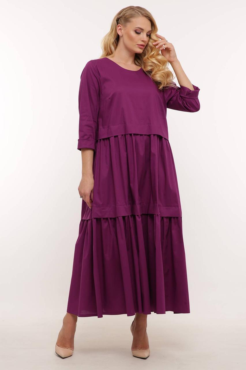 Довге літнє жіноче плаття А-силуету великих розмірів 54-62