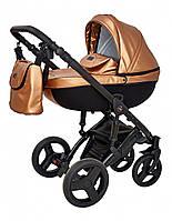 Детская универсальна коляска 2в1 Verdi Mirage Eco Premium из эко-кожи на алюминиевой раме, золото