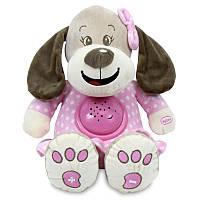 Детский проектор ночник музыкальный Собачка 26 см. Baby Mix STK-17132, розовый